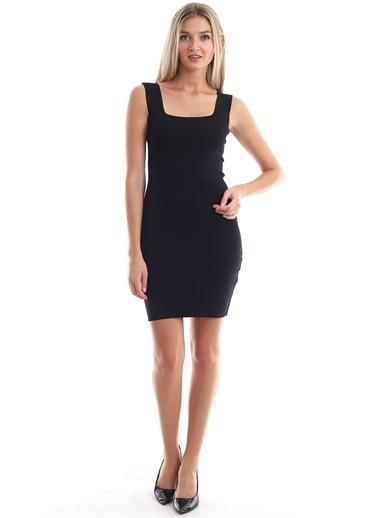 Cottonmood 20346238 Triko Kare Yaka Kolsuz Elbise Siyah